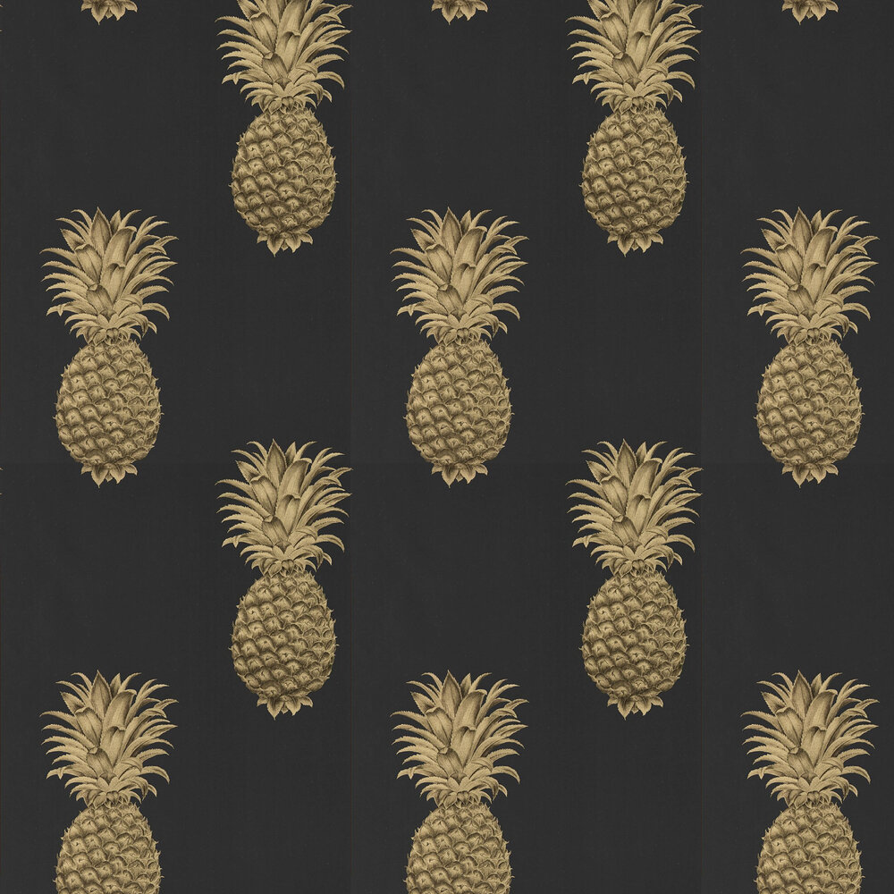 Pineapple Royale Wallpaper - Graphite / Gold - by Sanderson