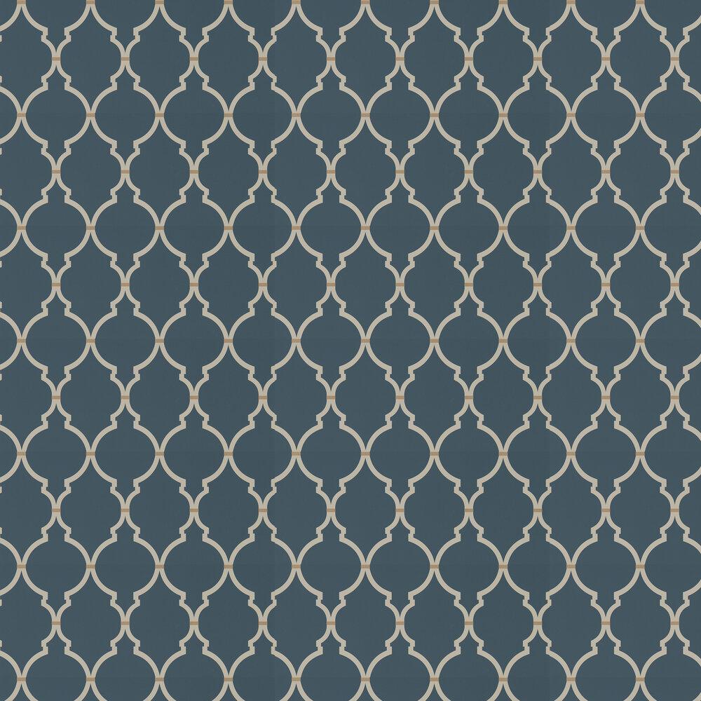 Empire Trellis Wallpaper - Indigo / Linen - by Sanderson