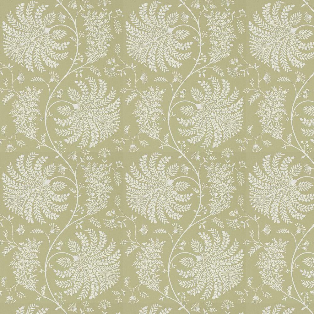 Mapperton Wallpaper - Garden Green / Cream - by Sanderson