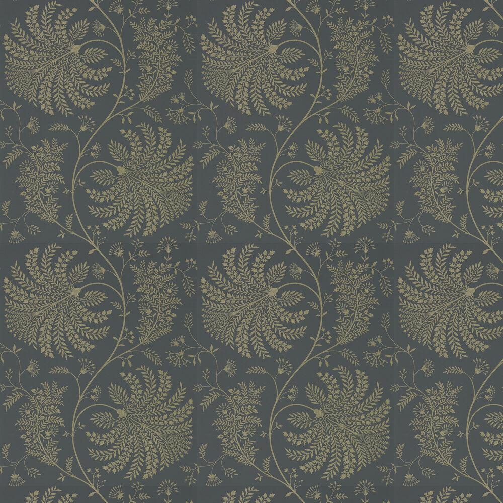 Mapperton Wallpaper - Graphite / Gilver - by Sanderson