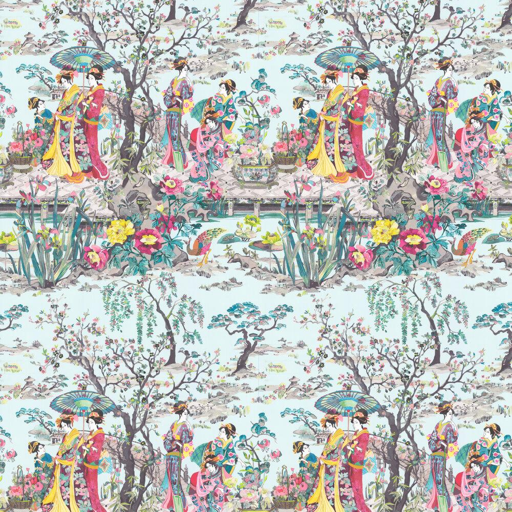 Japanese Garden Wallpaper - Teal / Fuchsia / Lemon - by Osborne & Little