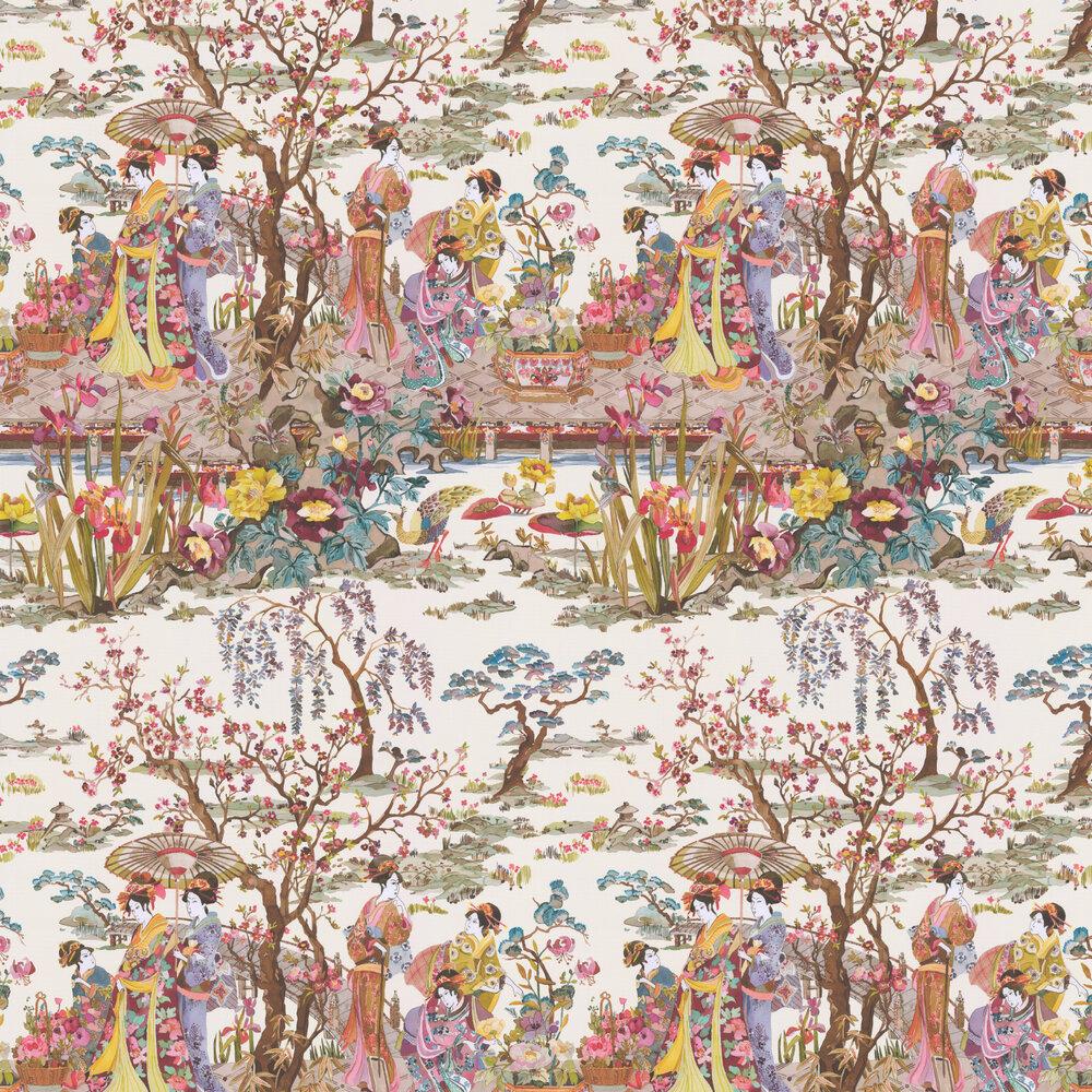 Japanese Garden Wallpaper - Ochre / Mustard / Rose - by Osborne & Little