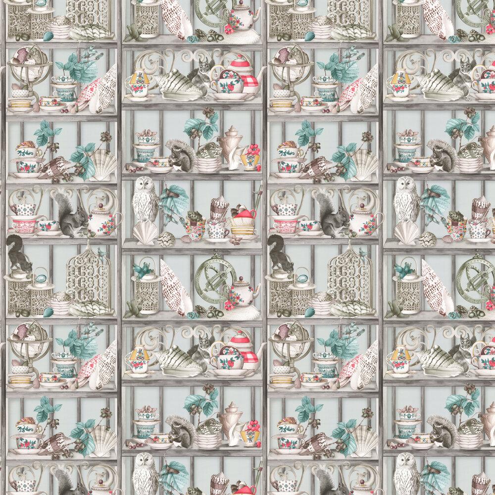 Curio Wallpaper - Soft Grey / Coral / Mustard - by Osborne & Little