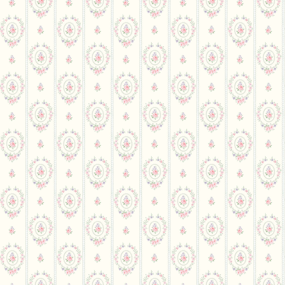 Elizabeth Ockford Maria  Cream / Powder Blue Wallpaper - Product code: LL 00315