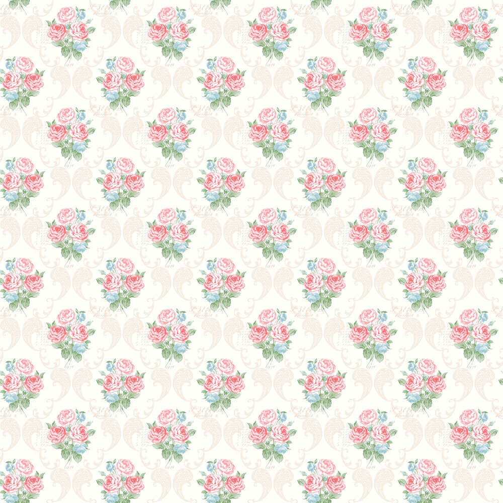 Elizabeth Ockford Florence Cream / Red Wallpaper - Product code: LL 00332