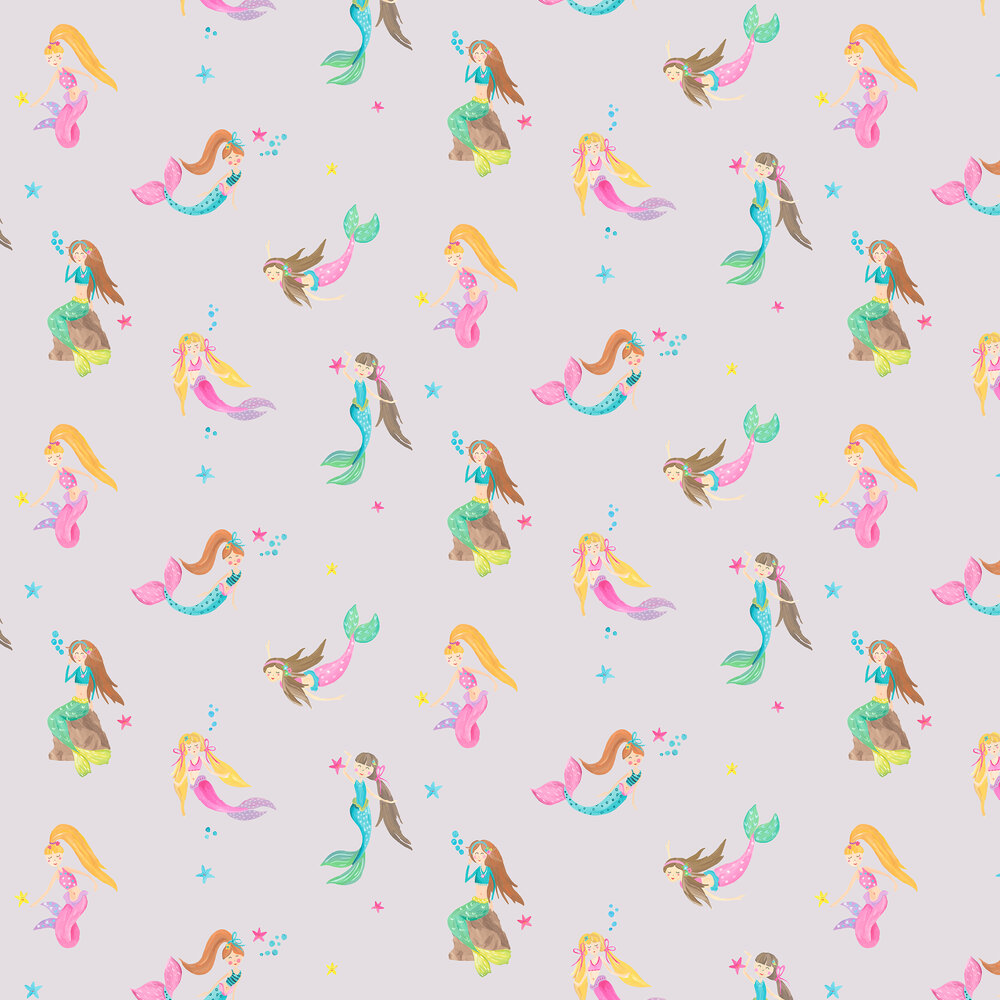 Mermaid World Wallpaper - Lilac - by Arthouse