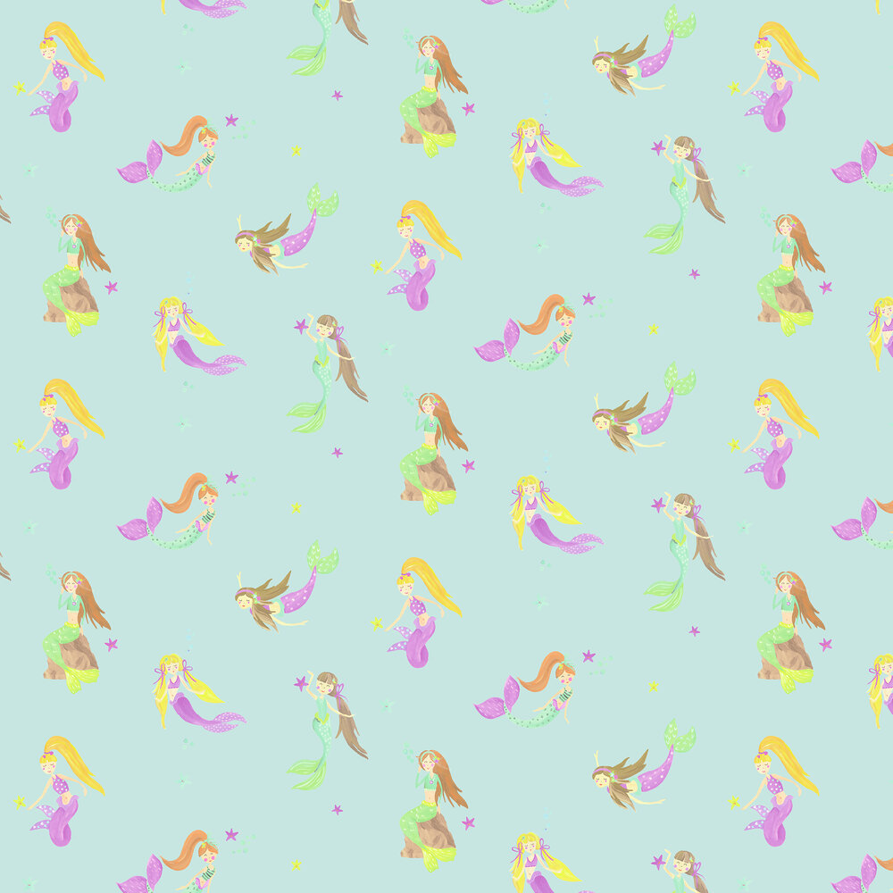 Mermaid World Wallpaper - Teal - by Arthouse