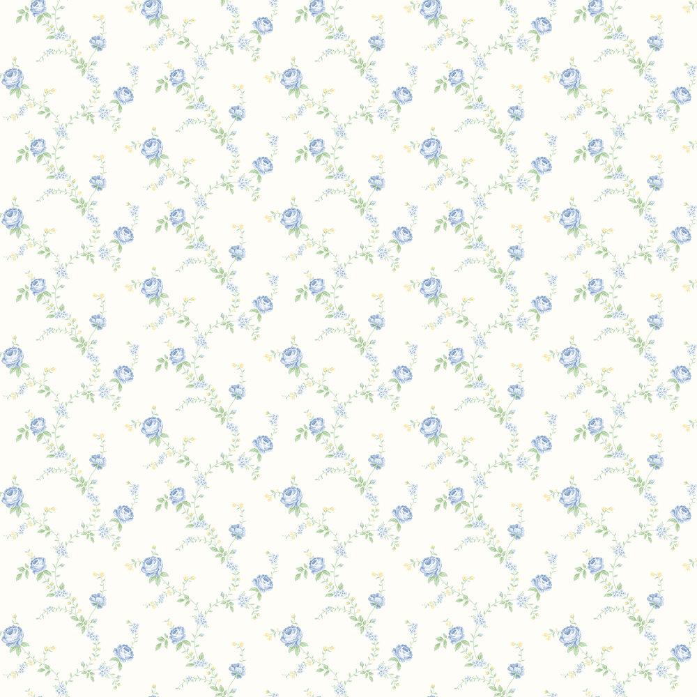 Elizabeth Ockford Rose Blue / Yellow Wallpaper - Product code: LL 00344