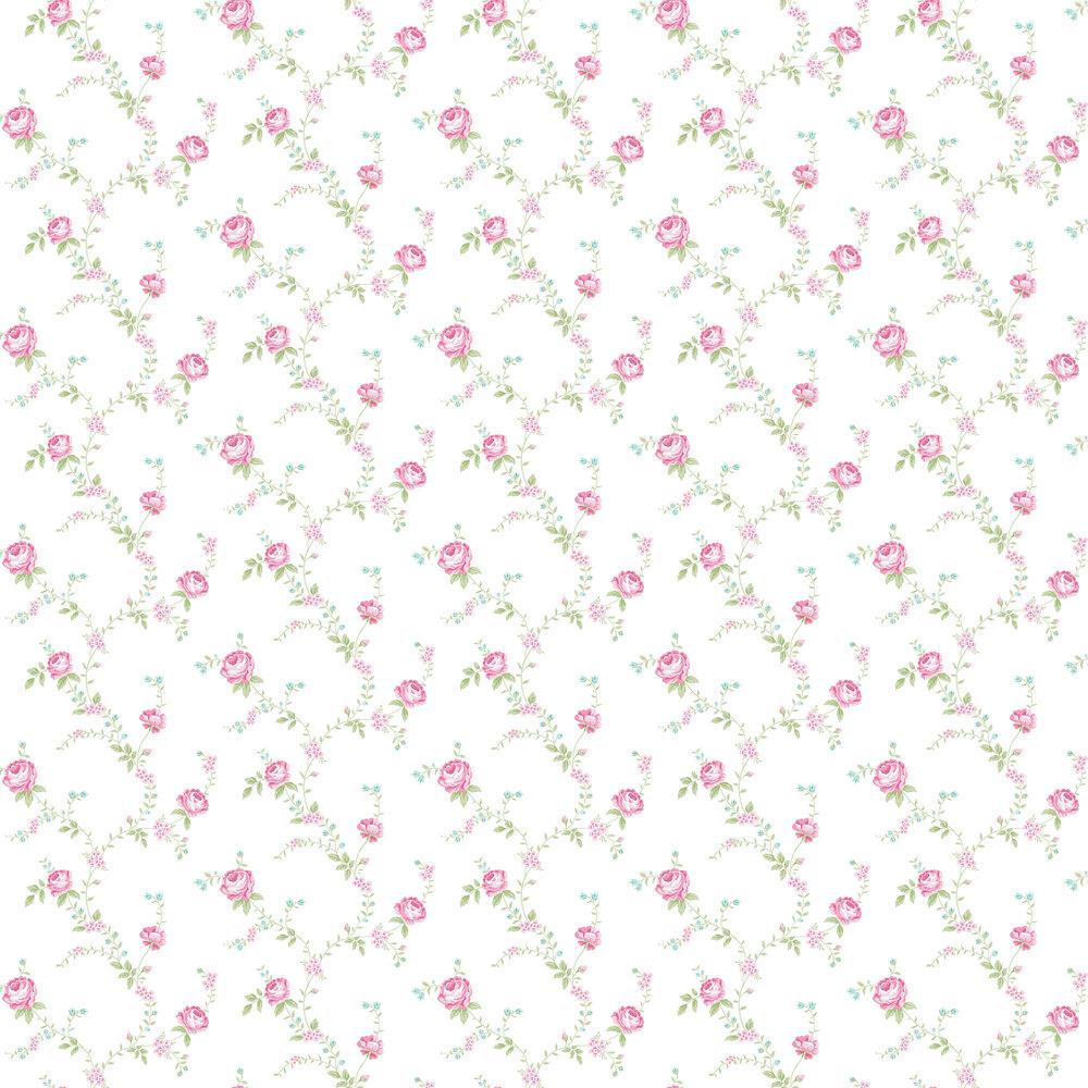 Elizabeth Ockford Rose Mint / Fuchsia Wallpaper - Product code: LL 00346