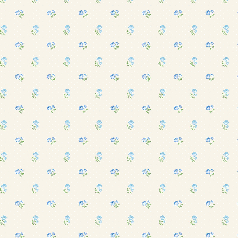 Elizabeth Ockford Sophie Cream / Blue Wallpaper - Product code: LL 00352