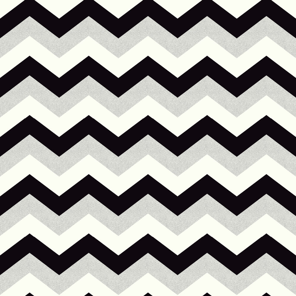 Glitterati Chevron Wallpaper - Black / Platinum - by Arthouse