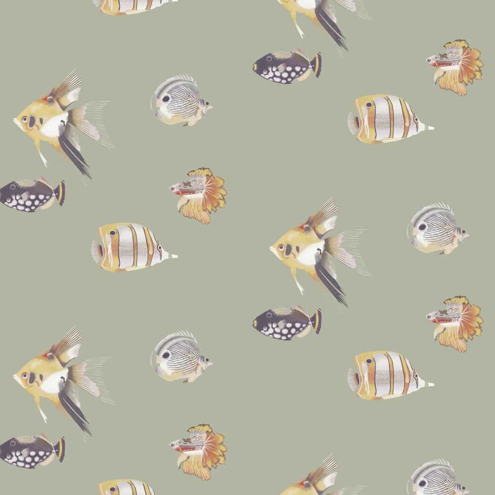 Kamanu Wallpaper - Mandarin / Fig - by Harlequin