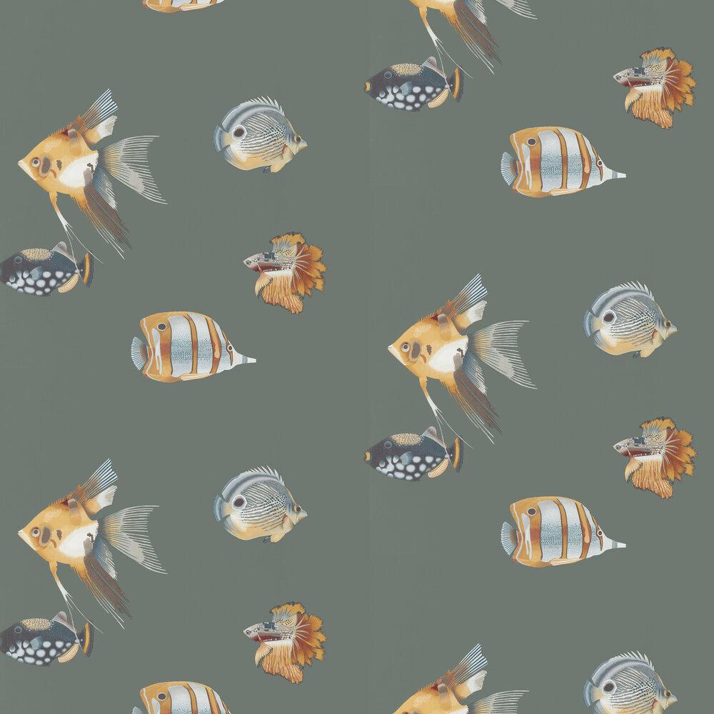Kamanu Wallpaper - Amber / Slate - by Harlequin