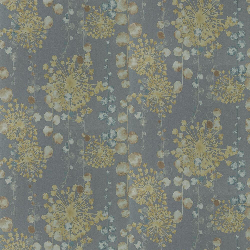Moku Wallpaper - Graphite / Mustard - by Harlequin