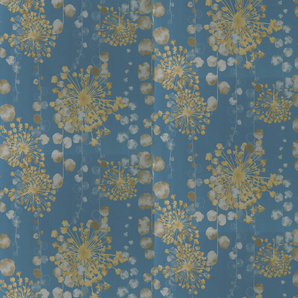 Moku Wallpaper - Indigo / Pebble - by Harlequin
