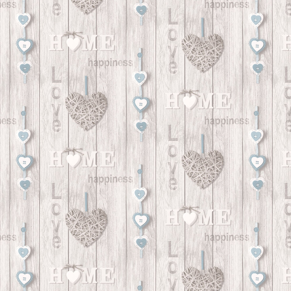 Albany Love Your Home White / Blue Wallpaper - Product code: 41719