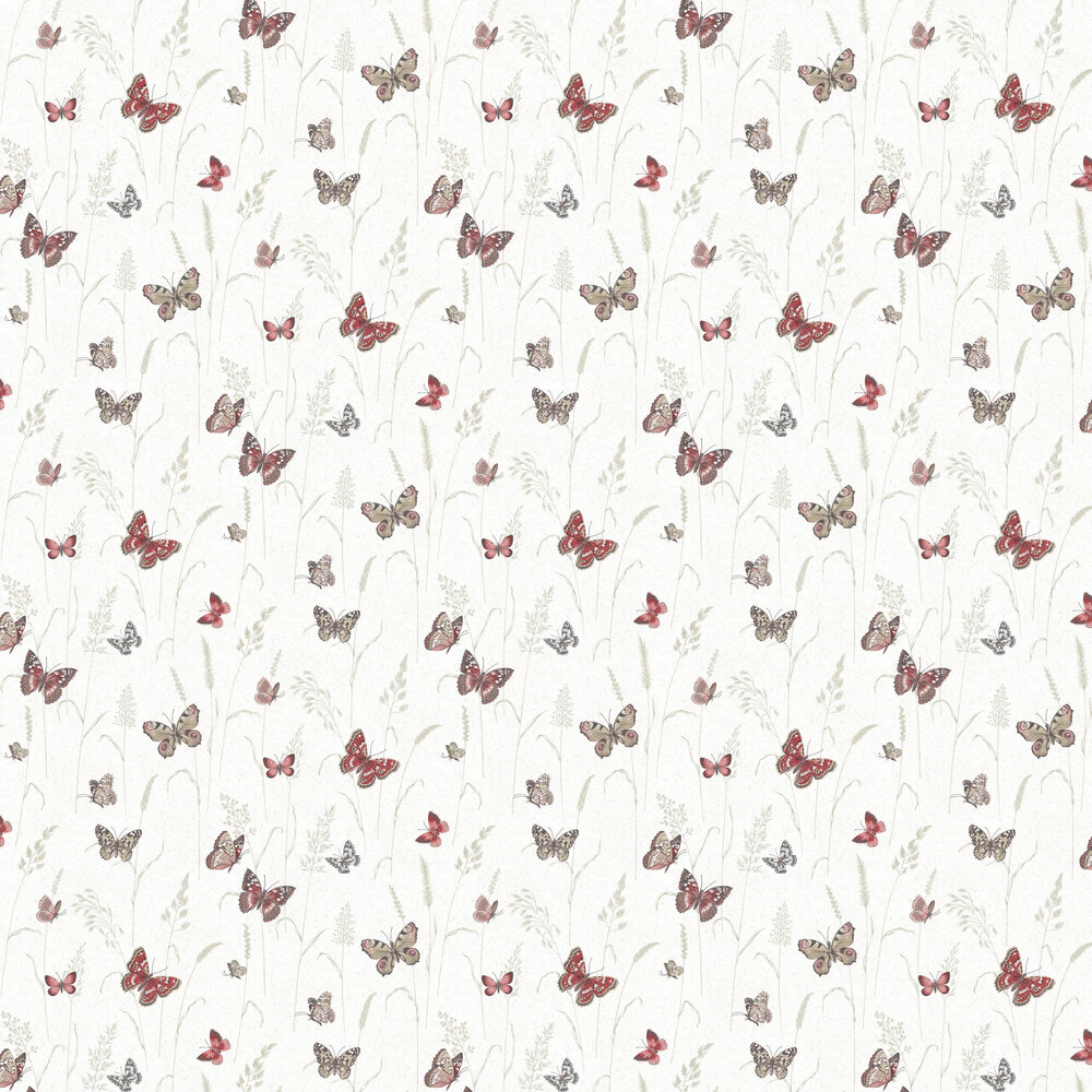 Meadow Butterflies Wallpaper - Red - by Galerie