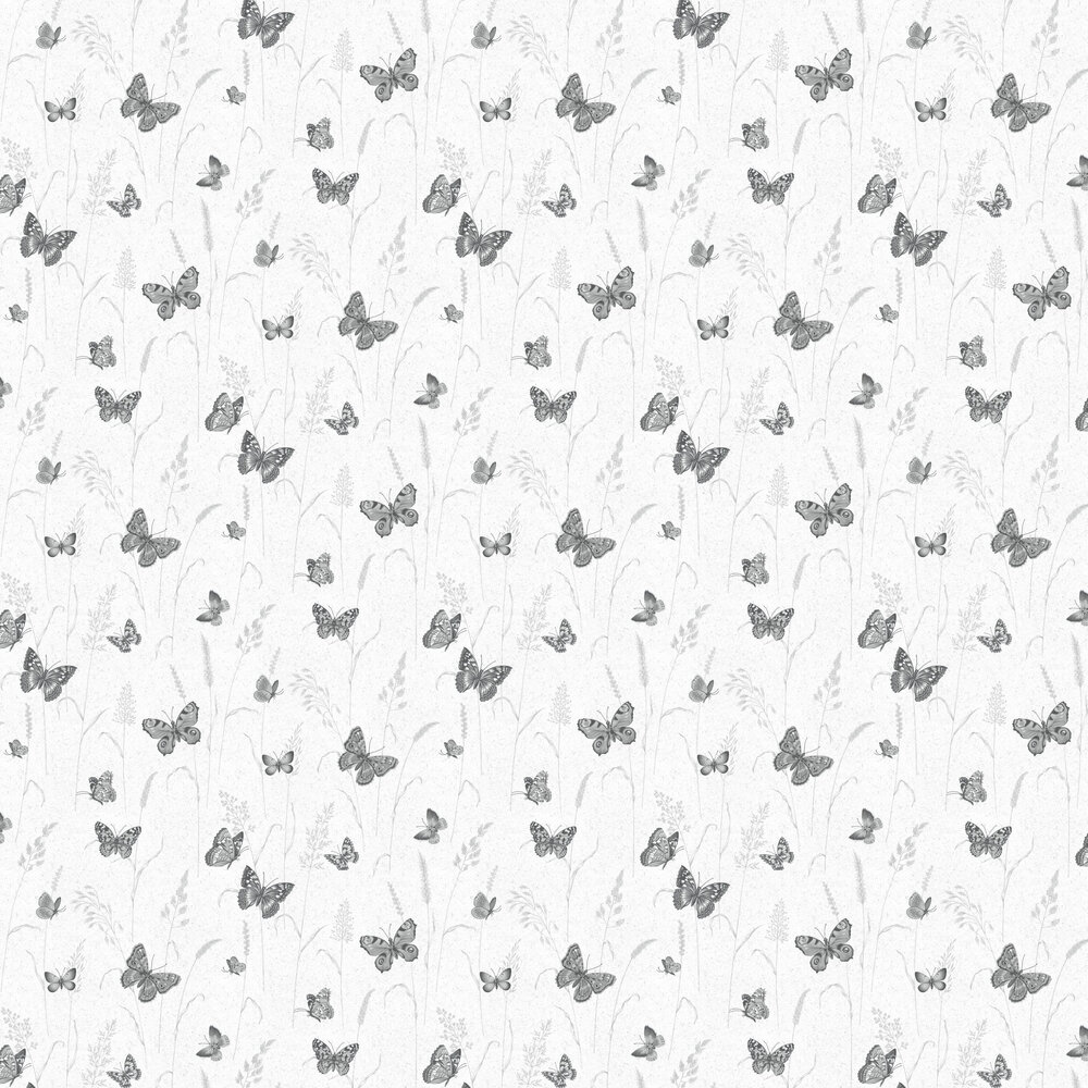 Meadow Butterflies Wallpaper - Black and Grey - by Galerie