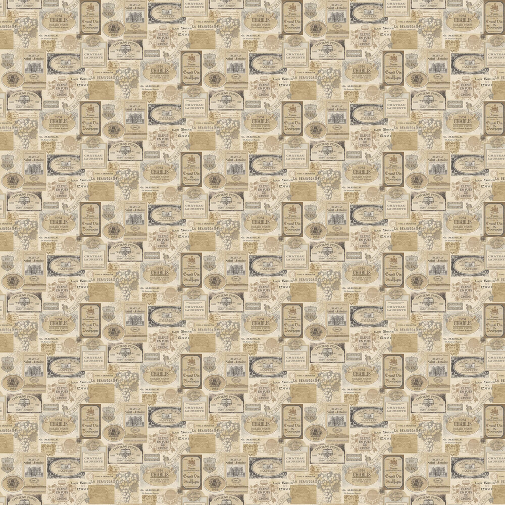 Galerie French Labels Cream Wallpaper - Product code: G12282