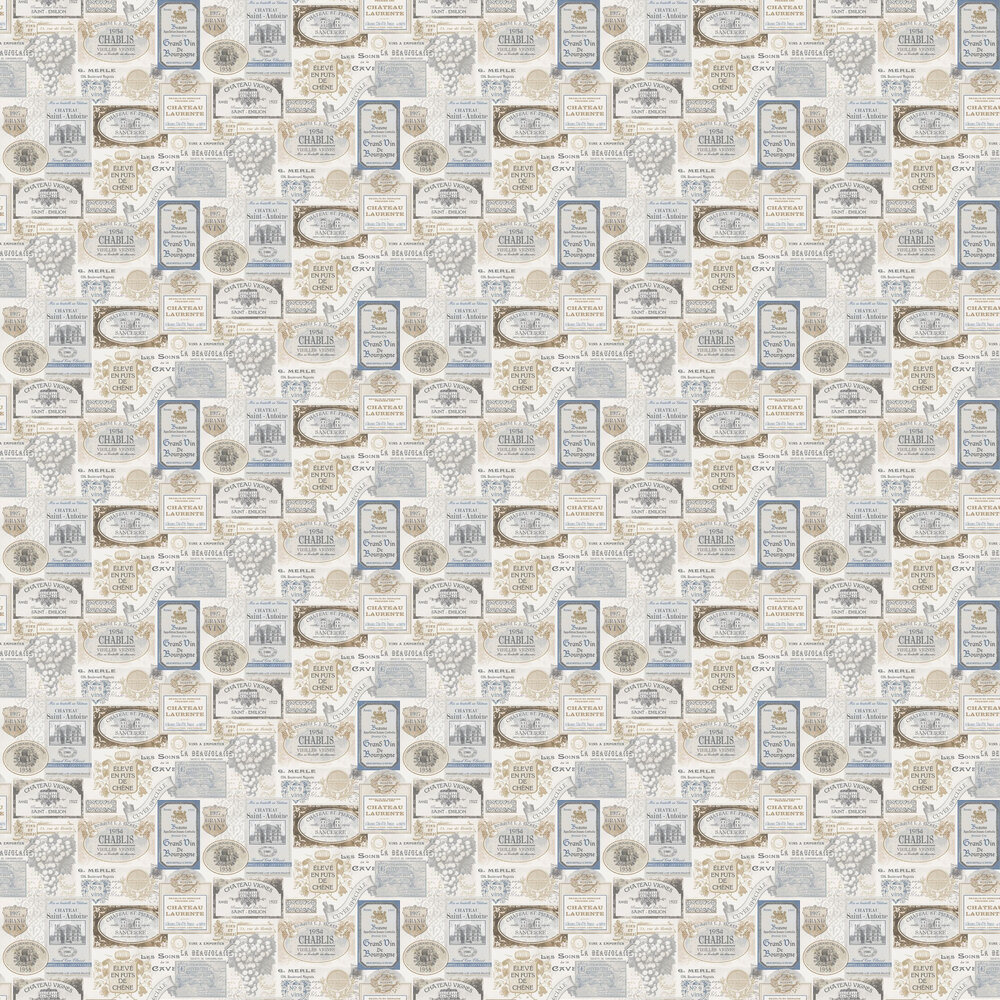French Labels Wallpaper - Grey and Blue - by Galerie