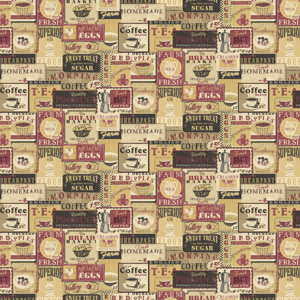 Diner Collage Wallpaper - Red - by Galerie