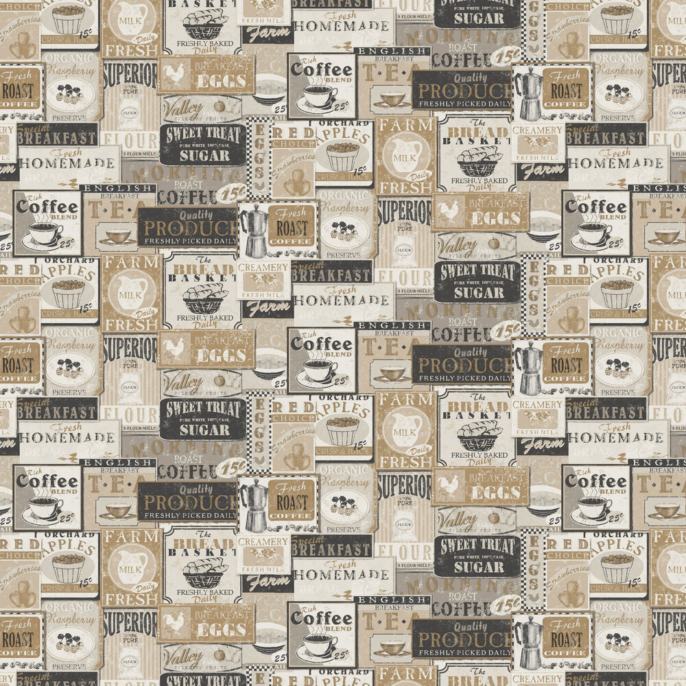 Diner Collage Wallpaper - Cream - by Galerie