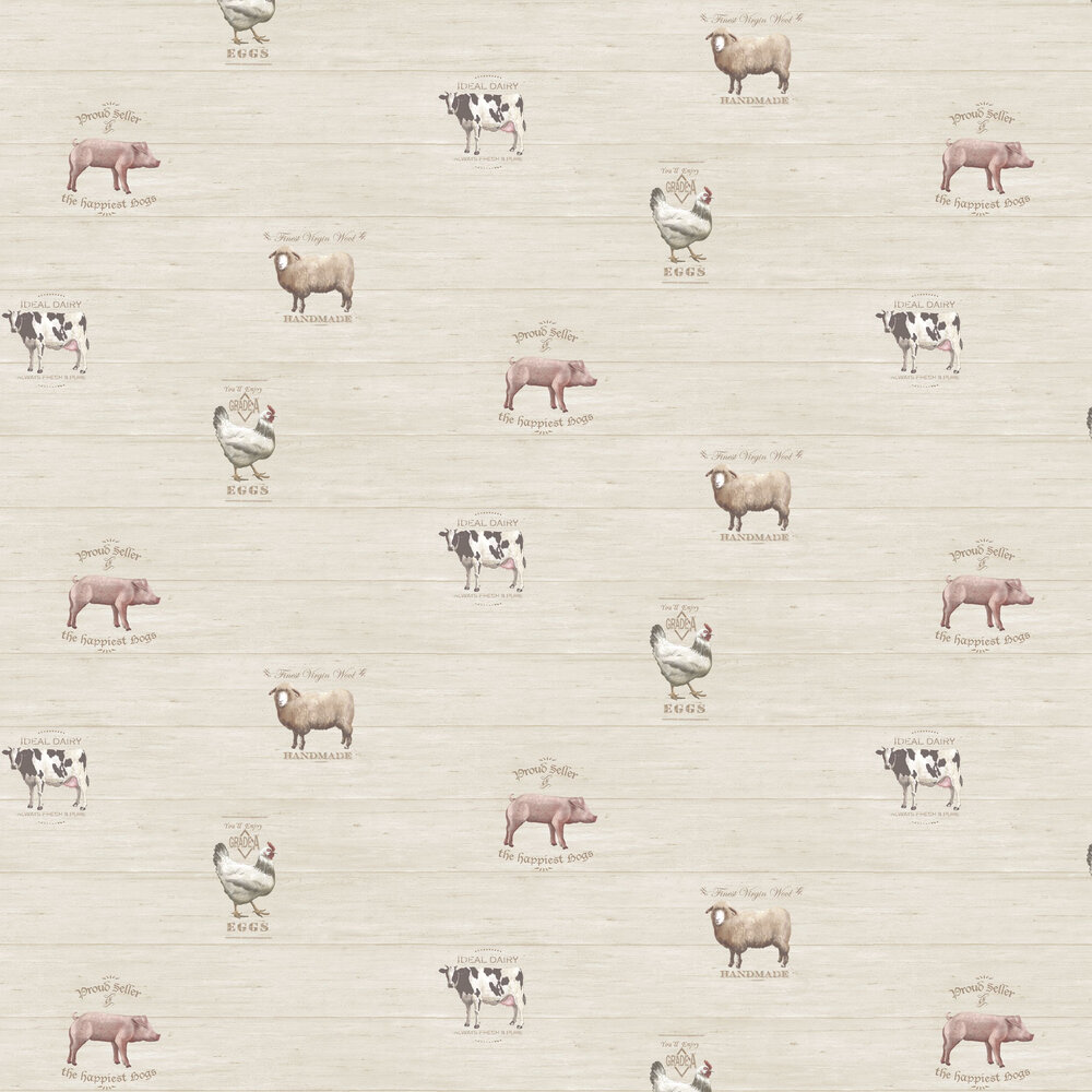 Farmyard Wallpaper - Pale Cream - by Galerie