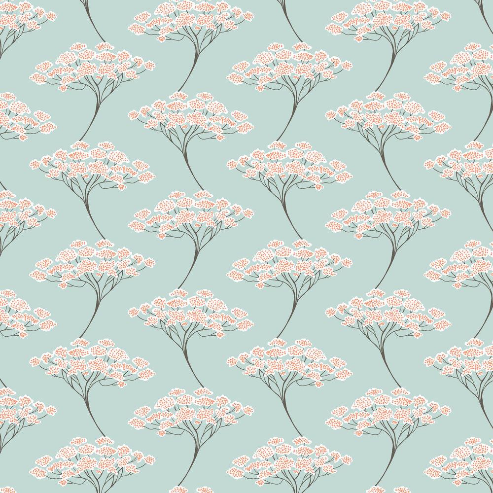 Banyon Tree Wallpaper - Aqua Blue - by Brewers