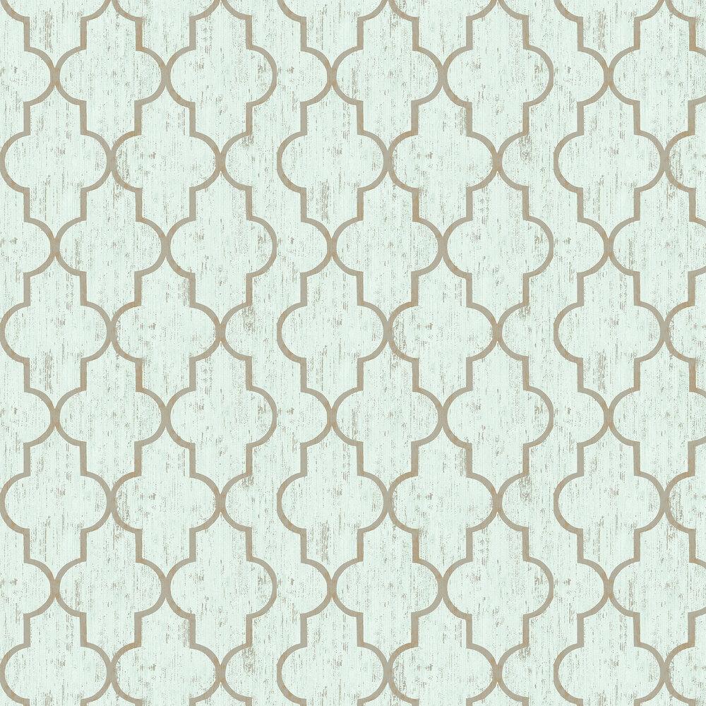 Clayton Wallpaper - Aqua - by Elizabeth Ockford