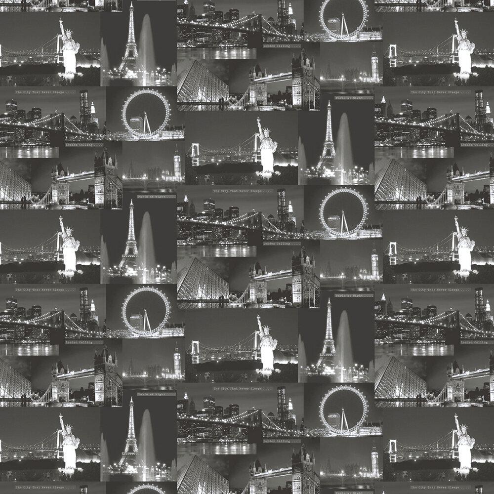 Albany Night City Black Wallpaper - Product code: 11330