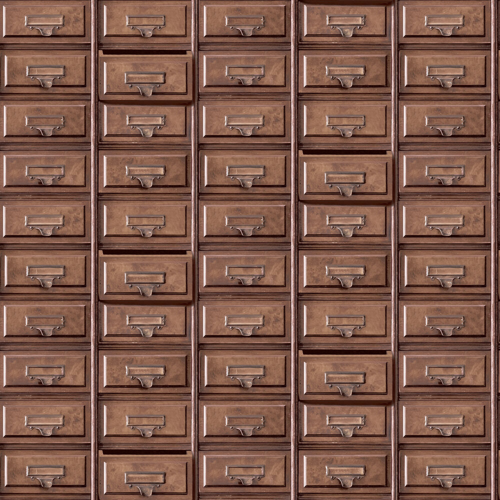 Vintage Drawers Wallpaper - Brown - by Albany