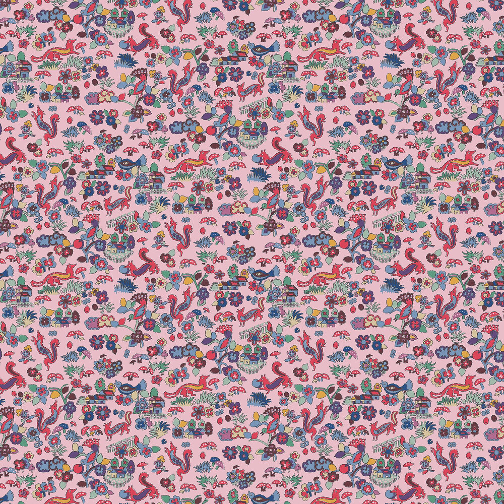 Mid Century Countryside Fox Wallpaper - Pink - by The Vintage Collection
