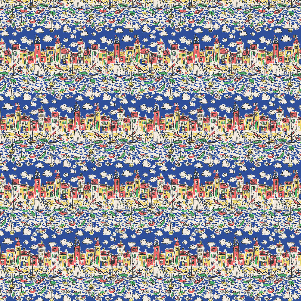 Mid Century St Tropez By The Vintage Collection Deep Blue Wallpaper Mcwp140191