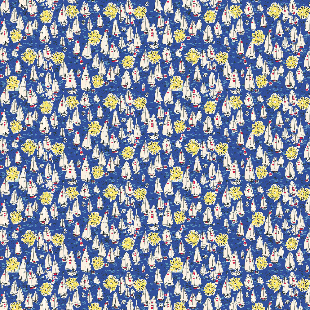 The Vintage Collection Mid Century Sailing Boats Deep Blue Wallpaper - Product code: MCWP/14018/3