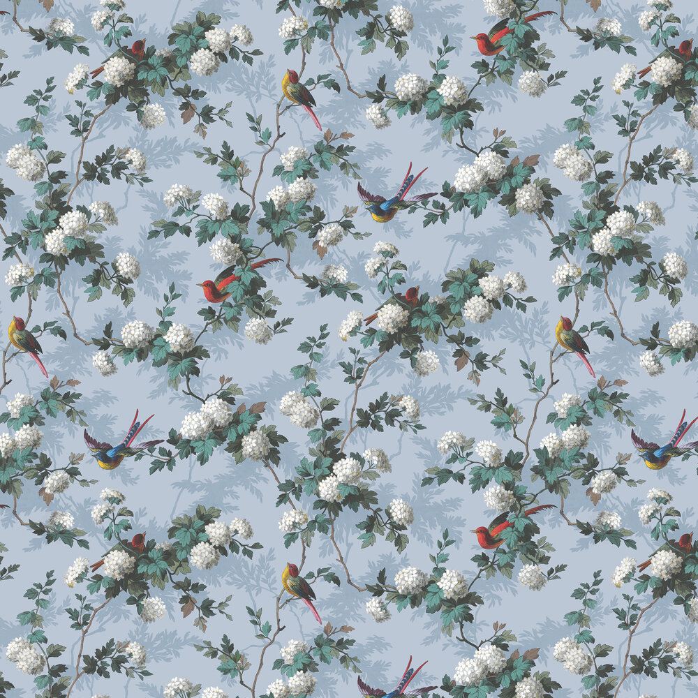 Heritage Bird Print Wallpaper - Blue - by The Vintage Collection
