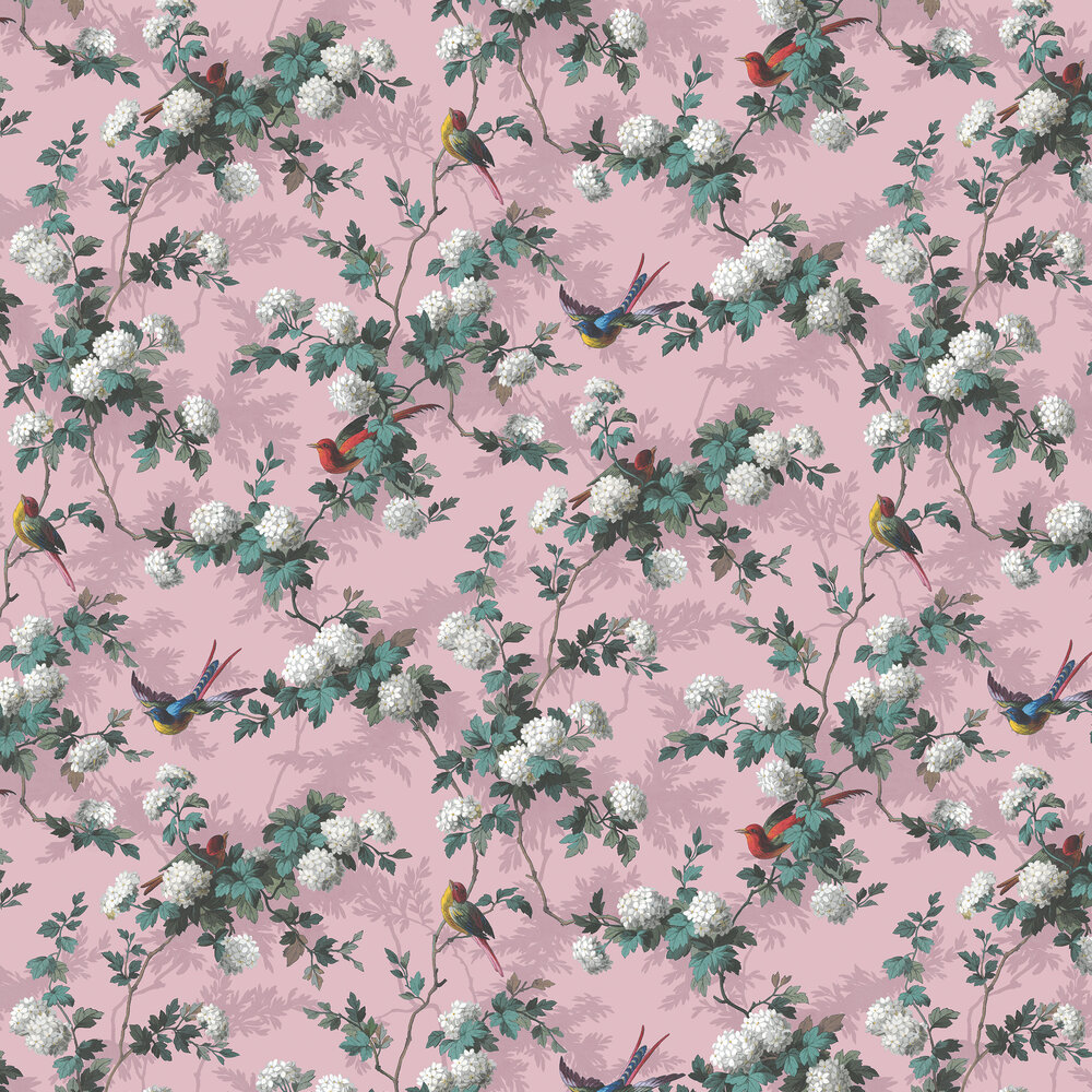 Heritage Bird Print Wallpaper - Pink - by The Vintage Collection