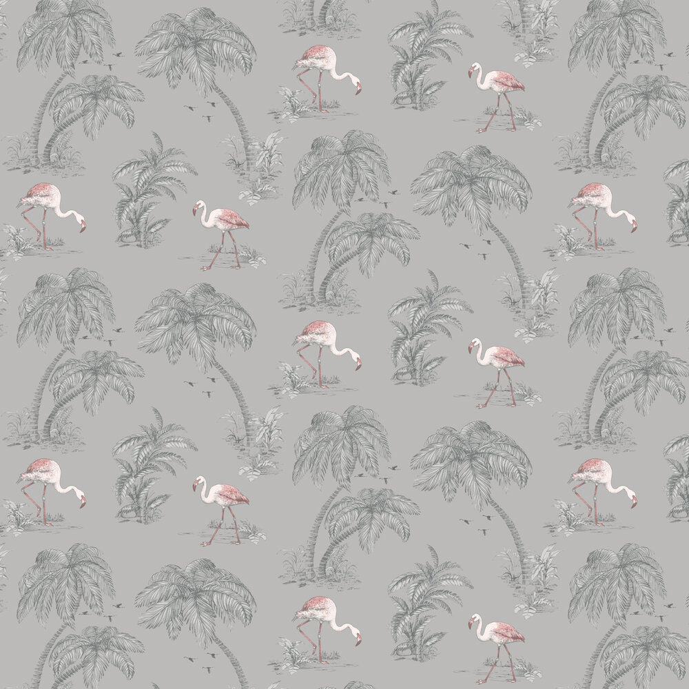 Flamingo Lake Wallpaper - Grey - by Albany