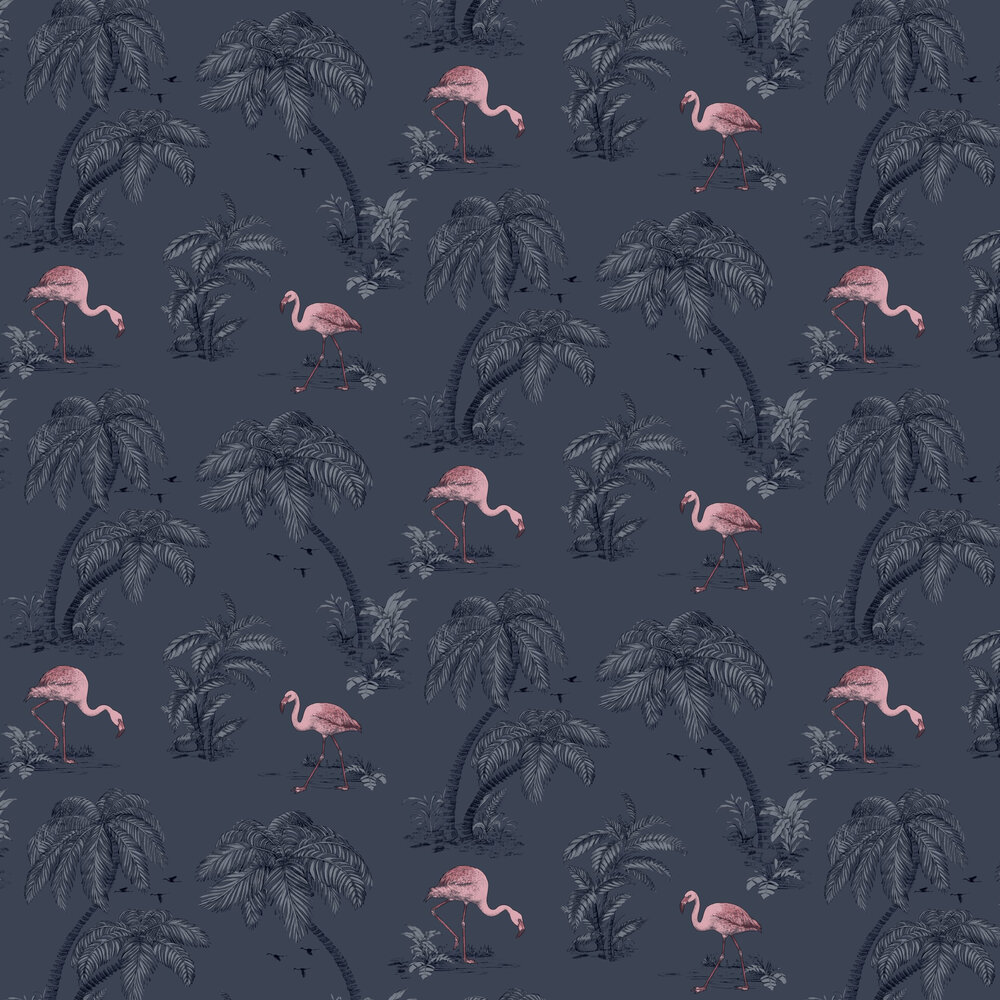 Albany Flamingo Lake Midnight Blue Wallpaper - Product code: 12382
