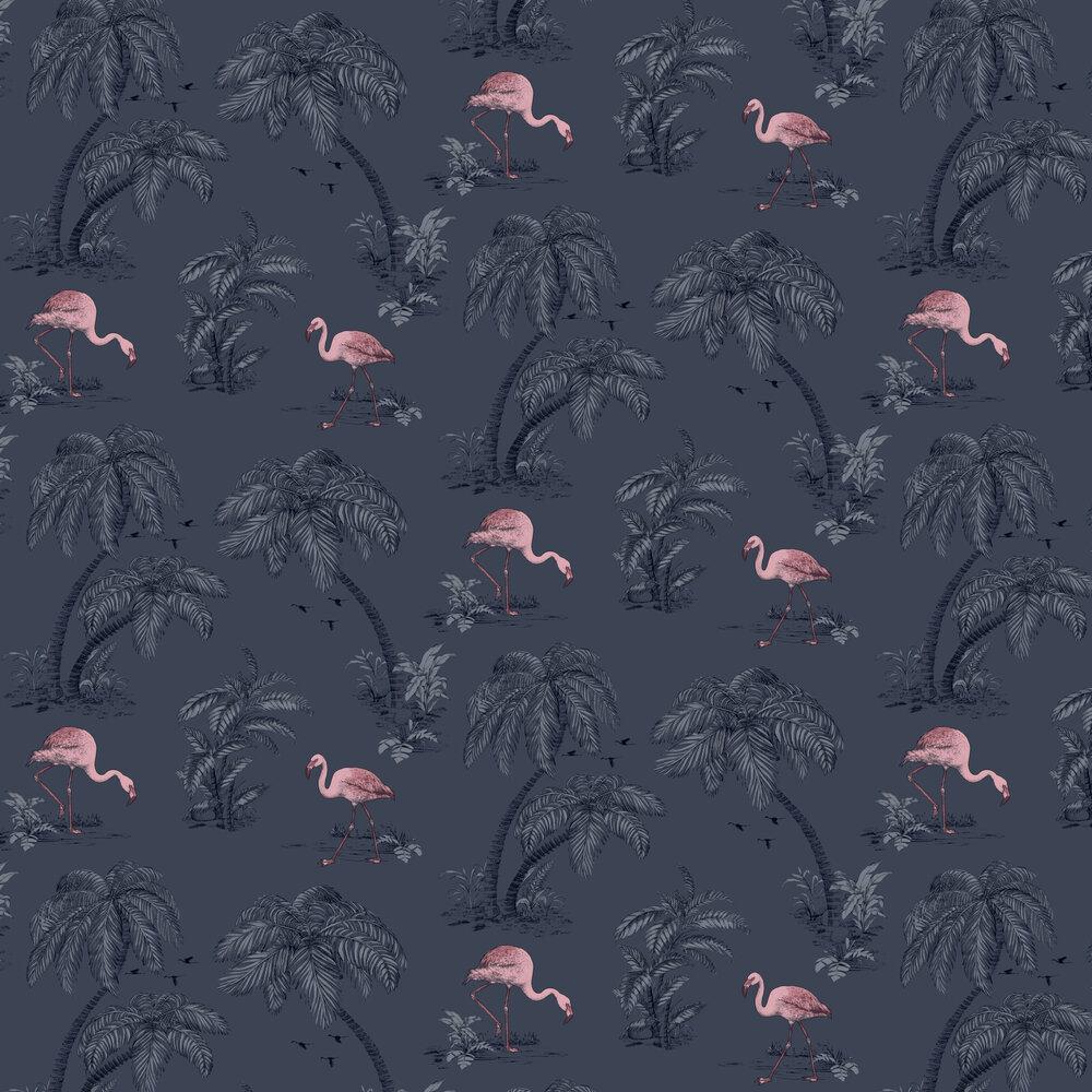 Flamingo Lake Wallpaper - Midnight Blue - by Albany