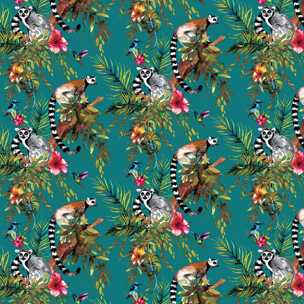 Lemur Wallpaper - Teal - by Albany