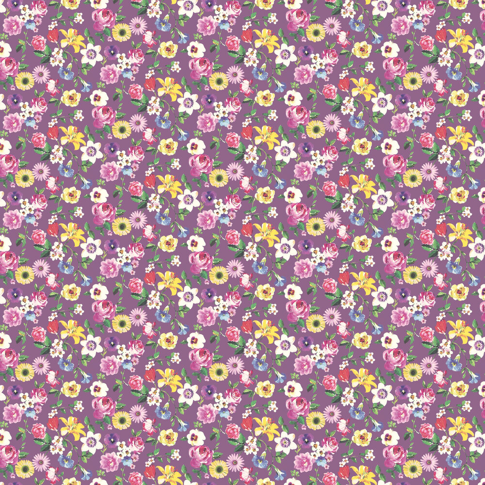 Rosa Wallpaper - Plum - by Albany