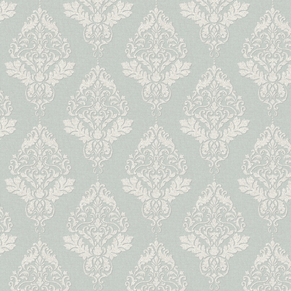 Hadrian Damask Wallpaper - Duck Egg - by Albany