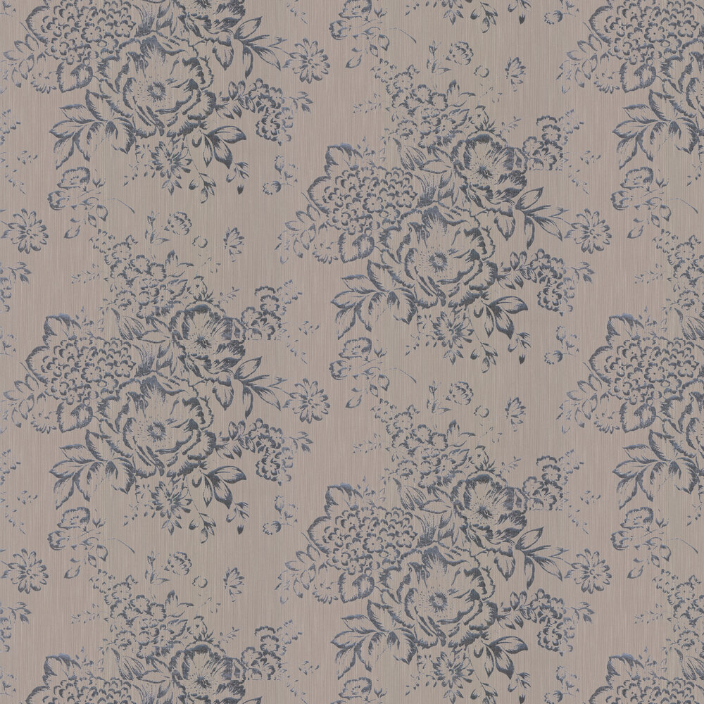 Foil Floral Wallpaper - Taupe - by Architects Paper