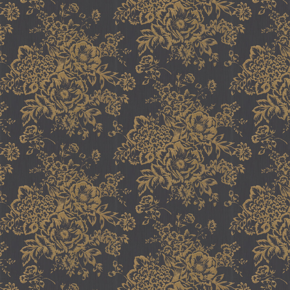 Foil Floral Wallpaper - Black / Gold - by Architects Paper