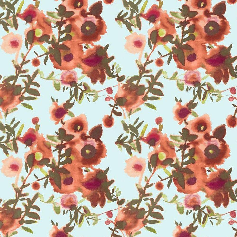 Open Spaces Wallpaper - Aqua / Coral - by Thibaut
