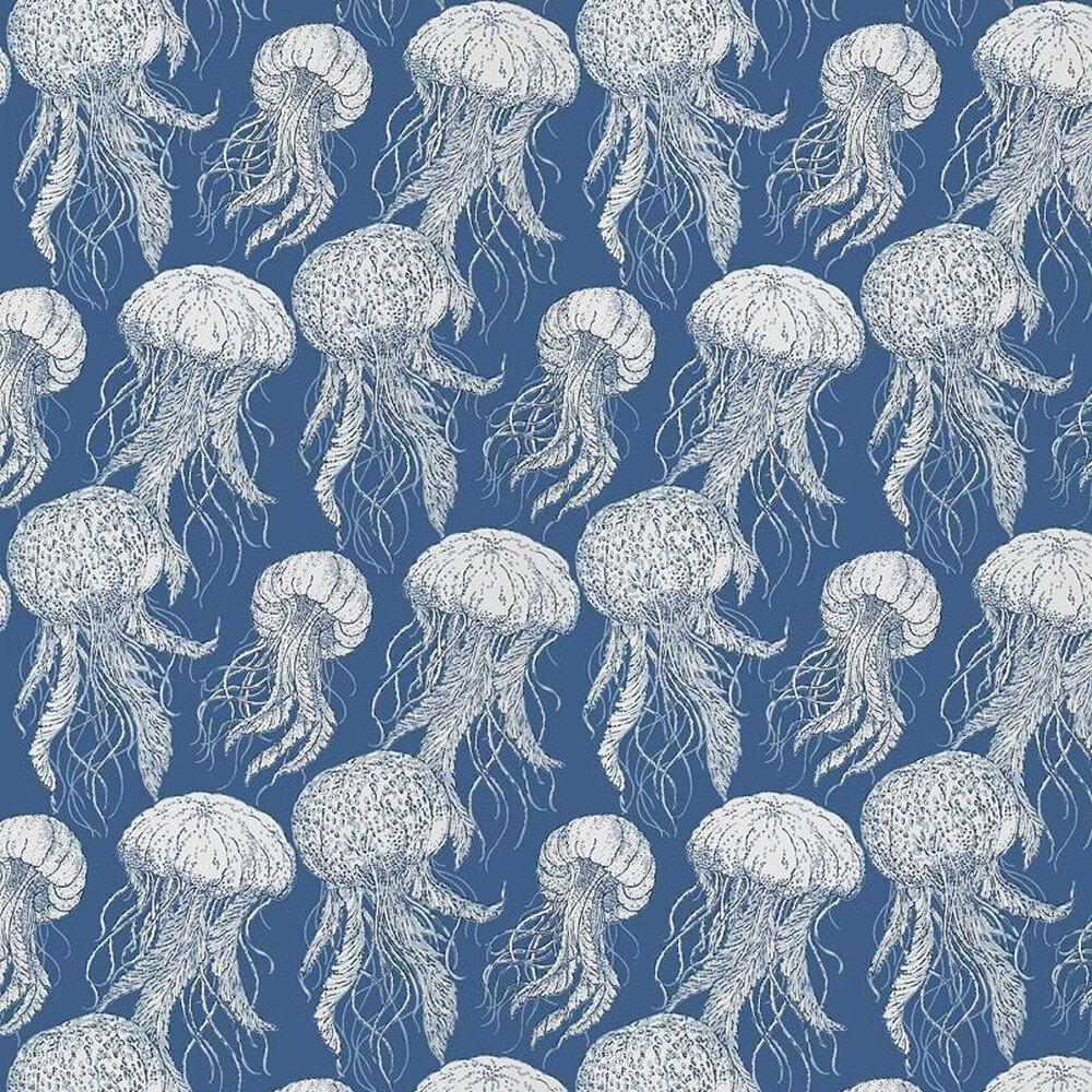 Jellyfish Bloom Wallpaper - Navy - by Thibaut