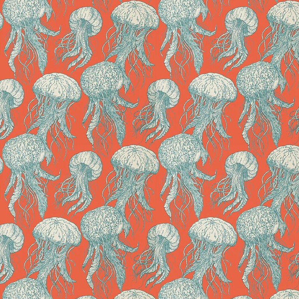 Jellyfish Bloom Wallpaper - Turquoise / Coral - by Thibaut