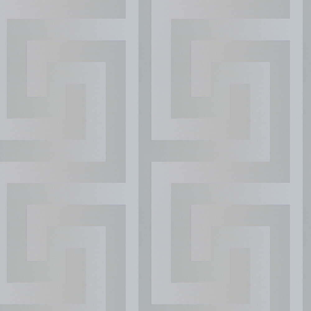 Versace Greek Key Motif Silver Wallpaper|