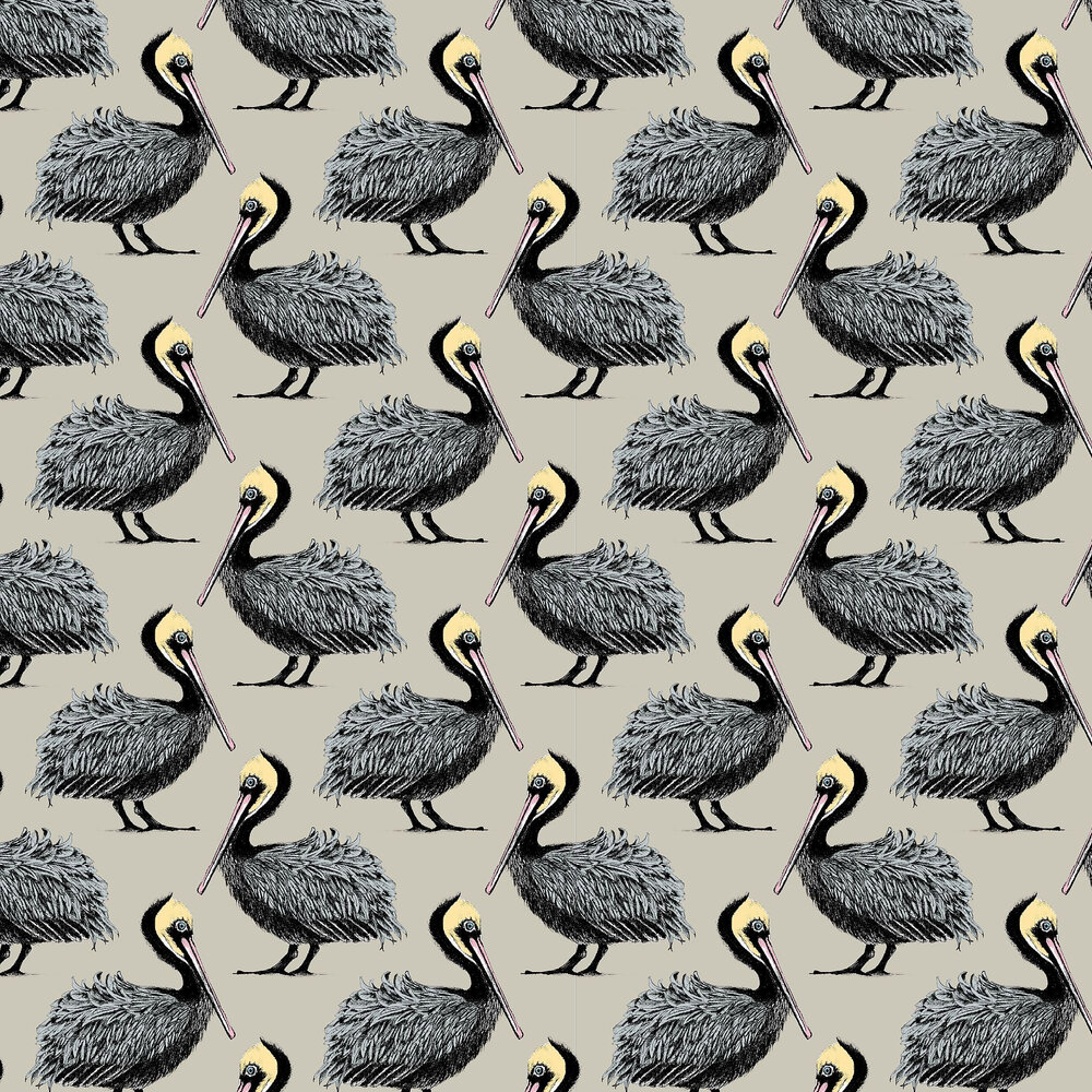 Pelican Wallpaper - Taupe - by Petronella Hall
