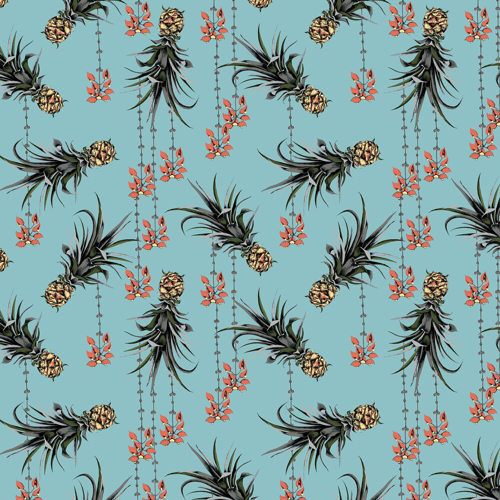 Pineapples and Petals Wallpaper - Ocean - by Petronella Hall